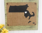 MASSACHUSETTS, sage green, blue, red, purple, ivory, white, yellow, BURLAP wood sign