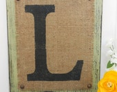 sage green bURLAP sign monogram, A,   B,   C,   v,   w,   x,   y,   z, your letter