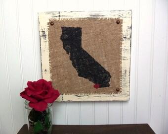 CALIFORNIA burlap sign, Heart burlap city, shabby chic wood state, custom location