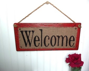 BURLAP WELCOME SIGN, Rustic Burlap Welcome Sign with Hand Painted Burlap, Primitive/Cottage Decor, Rustic Country Front Door Sign, Burlap
