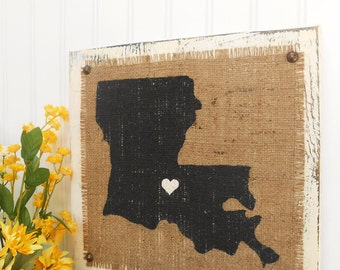 LOUISIANA burlap sign 12 inches by 12 inches ready to hang