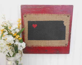 KANSAS, red or other color, burlap distressed 12 inch by 12 inch sign, shabby chic style
