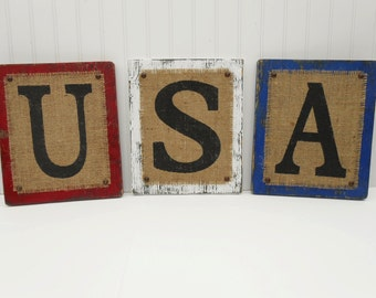 USA United States Of America Burlap Americana 4th of July rustic signs