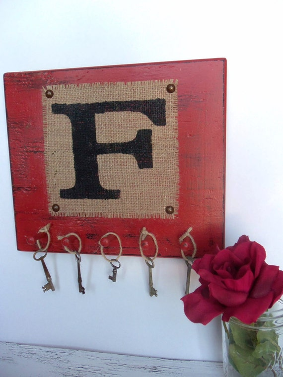 Monogram F wall hooks burlap letters A - Z worn red wall hanging You choose letter and color