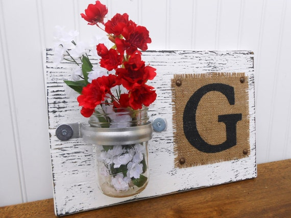 Burlap Monogram on distressed vintage look wood, Shabby Chic, shabby chic monogram G, L, M, S, T or another letter
