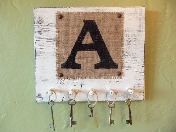 Shabby Chic key holder, letter A or your choice B, C, D, E, F, G, H, I, J, K or other, burlap monogram sign