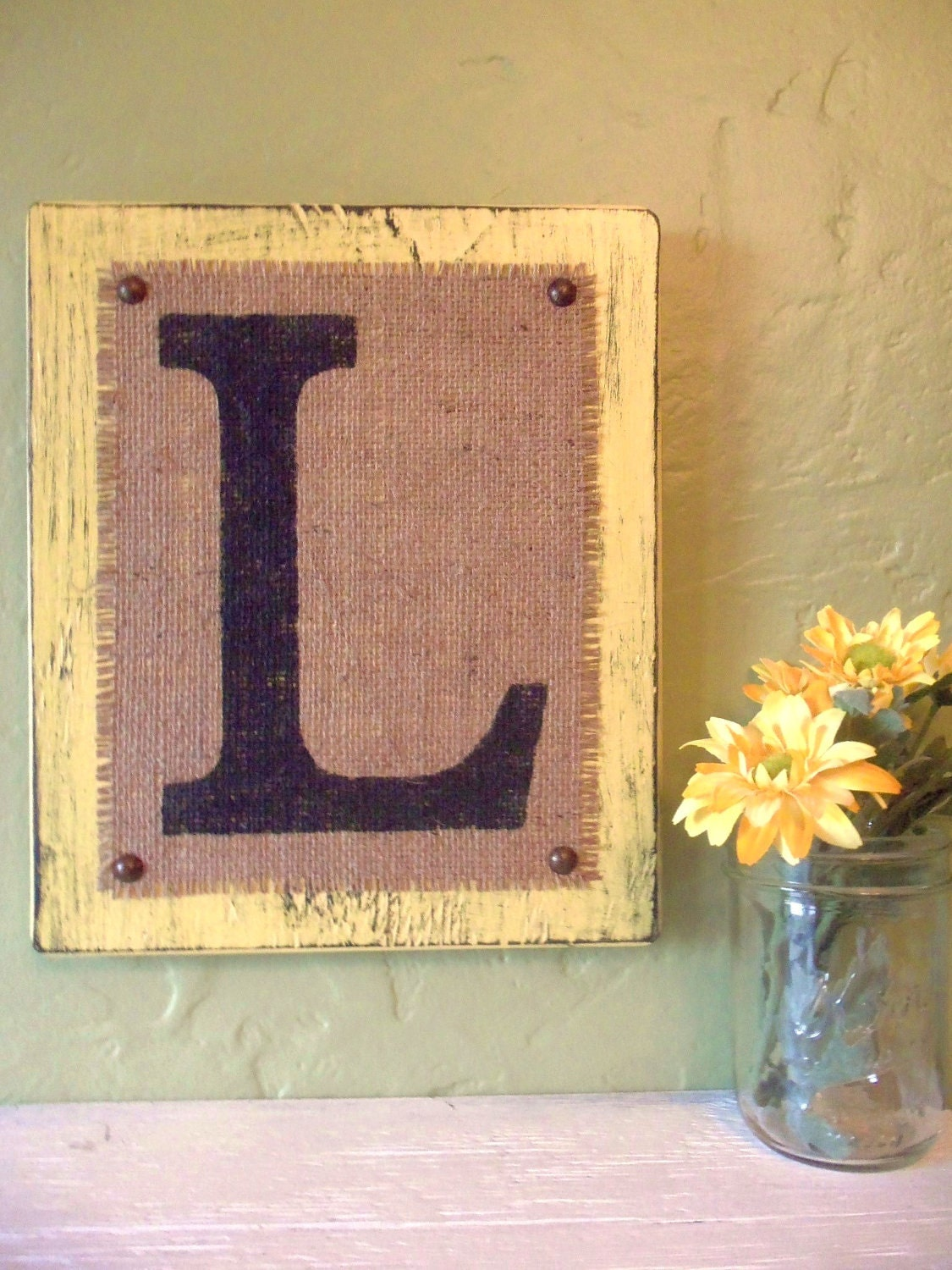 Monogram BURLAP SIGN Letters YELLOW wood or you choose color