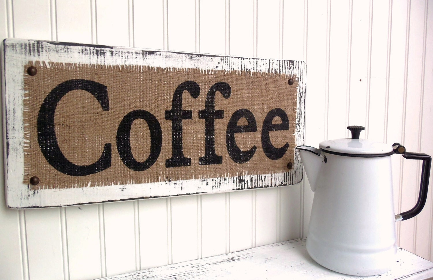 coffee burlap distressed kitchen dining sign