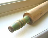 Vintage Rolling Pin Green Handles Wooden Eco Friendly Kitchen