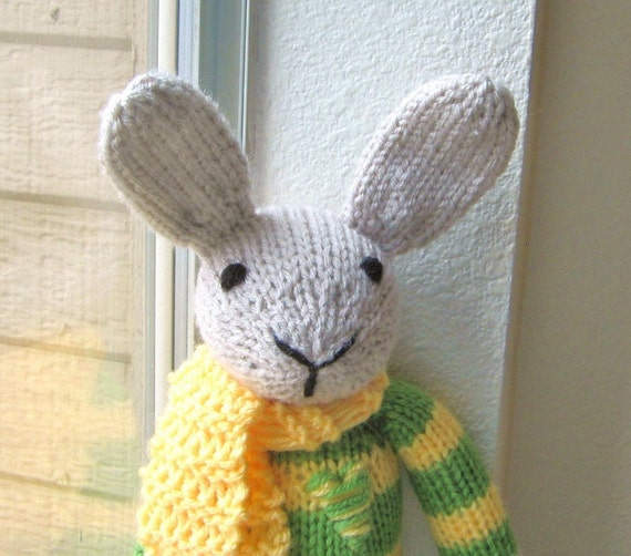 Hand Knitted Toys : Rex the rabbit hand knitted handmade plush toy stuffed animal