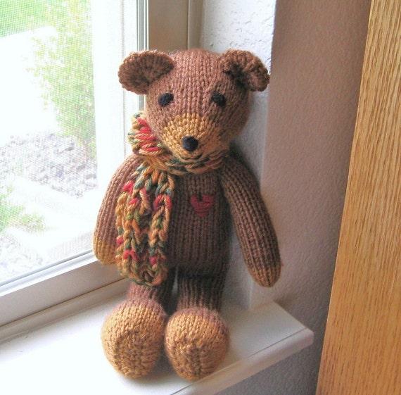 Knitting Patterns Teddy Bear Stuffed Animals : Plush Teddy Bear Hand Knitted Toy Baby Stuffed Animal Knit