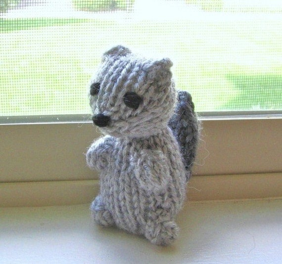 Knitting Patterns For Miniature Animals : Amigurumi Toy Squirrel Miniature Knit Toy Knit Animal Hand