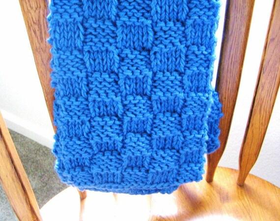SALE -  Women's Hand Knit Scarf - Royal Blue Warm Winter Scarf - Classic Basketweave Style - Fall Fashion Sale Knit Scarf