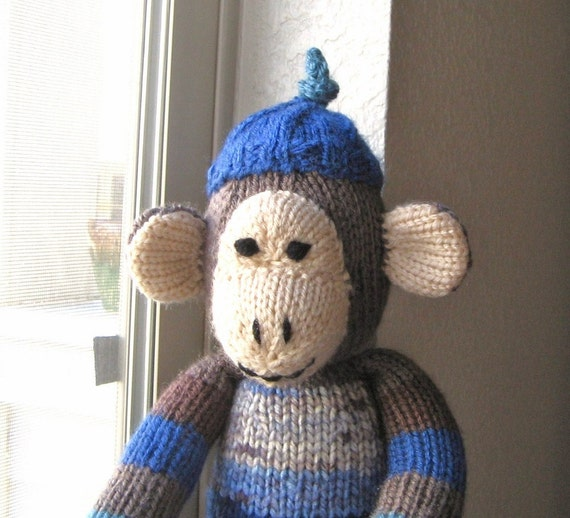 Knitting Stuffed Animals : Hand knitted monkey stuffed animal plush childrens toy