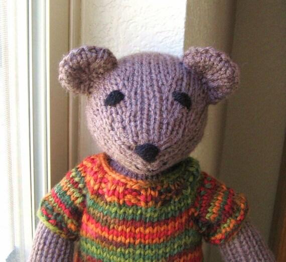 Teddy Bear Stuffed Animal Knit Toy, Girl Boy Childrens Kids Toy, Hand Knit Animal Toy Stuffed Bear
