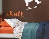 skater boy and SKATE words vinyl decal wall art