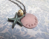 CLEARANCE - Finnick - Hunger Games Inspired HANDSTAMPED Charm Necklace