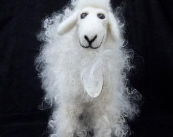 needle felted small angora goat