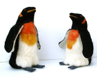 needle felted wool penguin