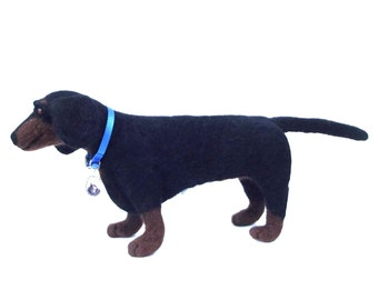 life sized needle felted wool mini dachshund