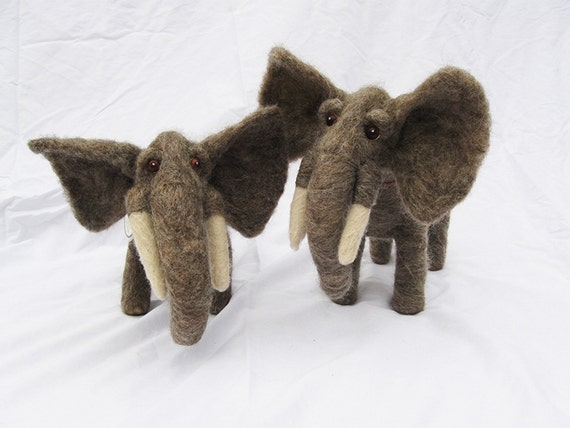 Needle Felted Animal, Wool Elephants