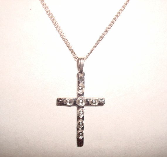 Dainty Sterling Silver Cross on 16 Inch Sterling Silver Chain