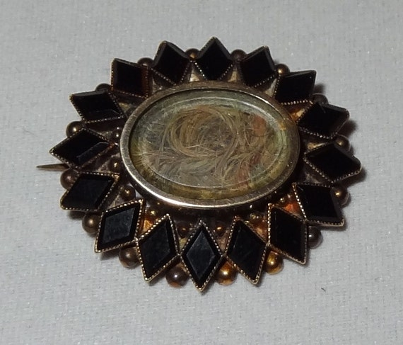 RESERVE FOR JOYCE Lovely Victorian Memento Mori Pinchbeck and Onyx Mourning Hair Brooch or Pendant