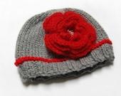 Knit Baby Newborn Hat-  Baby Girl Beanie  with Flower