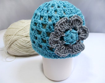 Crochet Pattern Newborn Beanie with Flower in PDF 29. Permission to sell finished items