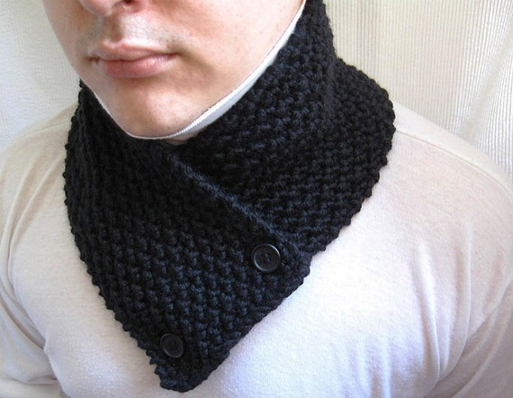 Knitted Scarf Neck Warmer Knit Cowl Black