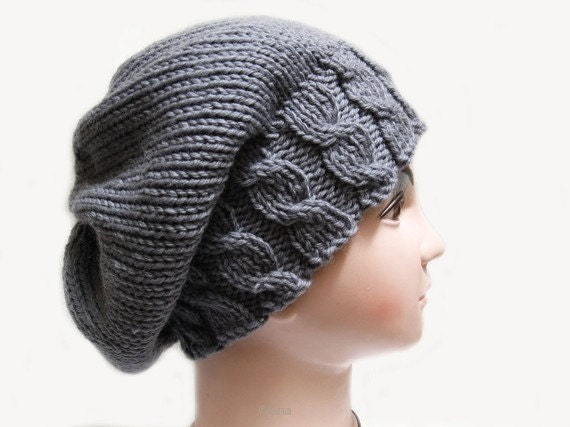 Beanie Knitting Pattern Free : Knitting pattern Hat Beanie Slouchy fall for womens in PDF n21