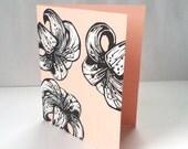 Lilies in peach blank linocut card set (4 cards)