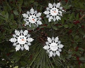 SNOWMAN Snowflake Ornament- Hand Painted - PERSONALIZED FREE