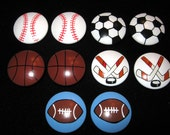 Set of 10 SPORTS BALLS - 1 1/2 inch - Football, Baseball, Basketball, Soccer and Hockey -  Dresser Knobs