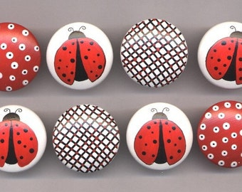 LADY BUGS and DOTS - Hand Painted Wooden Dresser Knobs/Pulls - Great for Baby Nursery or Little Girl's Room - Set of 8