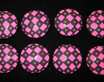 1.5 inch - Black and Bright HOT Pink Dots and Diamonds - HAND PAINTED Wooden Knobs- Set of 8