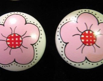 Set of 8 PINK FLOWERS Hand Painted Knobs- Kids Line Lady Bug Design
