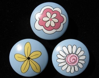 Set of 8 FANTASY FLOWER GARDEN - Hand Painted Dresser Drawer Knobs