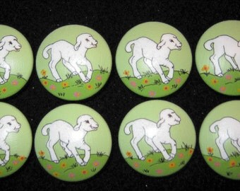 Set of 8 LAMBS - Sweet White Lambs -  Hand Painted Dresser Drawer Knobs in PASTEL GREEN