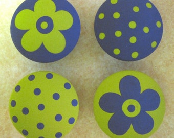 8 - GREEN and PURPLE - Polka Dots & Flowers - Drawer Knobs / Pulls