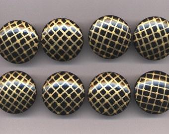 BLACK & GOLD - Dresser Drawer Knobs PULLS - Set of 8