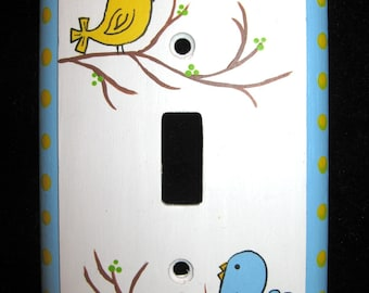 BIRDIES - Single Switch Plate Cover - Hand Painted
