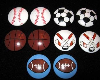 Set of 10 SPORTS BALLS - 2 inch - Football, Baseball, Basketball, Soccer and Hockey -  Dresser Knobs