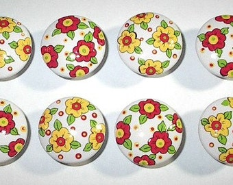PINK and YELLOW CHiNTZ FLOWERS - Hand Painted Wooden Knobs/Pulls - Set of 8 - Great for Bedroom, Nursery or Little Girl's Room