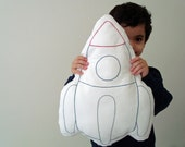 Rocket Ship Hand Embroidered Pillow