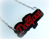 Doll Face Perspex Plastic Laser Cut Stacked Necklace By Bad Attitude Jewelry Co. Red/Black