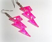 Scene Chunky  Little Lightning Bolt Resin Dangle Earrings - Holographic Hot Pink Sparkle
