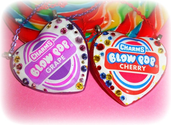 XX Candy Glam Charms Blow Pop  Resin Heart Necklace XX Chose Cherry Red Or Grape XX