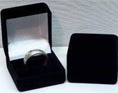Wholesale Lot of 12 Square Flocked Ring Boxes Black