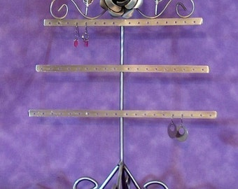 Antique Silver Color Metal Earring Rack Holds 54 Earrings SALE Free USA Shipping